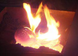 verbranding hout in glas